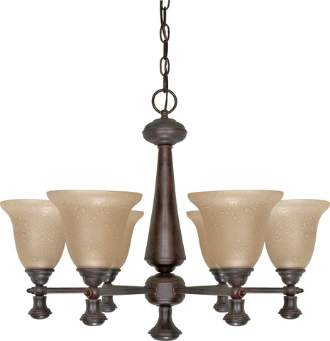 "Nuvo 60-100 - 6-Lights 26"" Old Bronze Chandelier with Amber Water Glass"