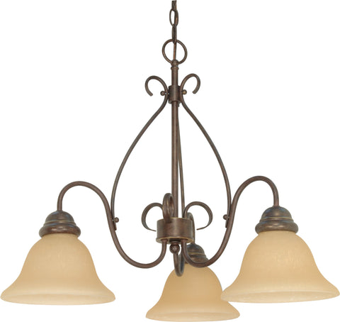 Nuvo 60-1021 - 3-Lights Small Chandelier in Sonoma Bronze with Champagne Glass