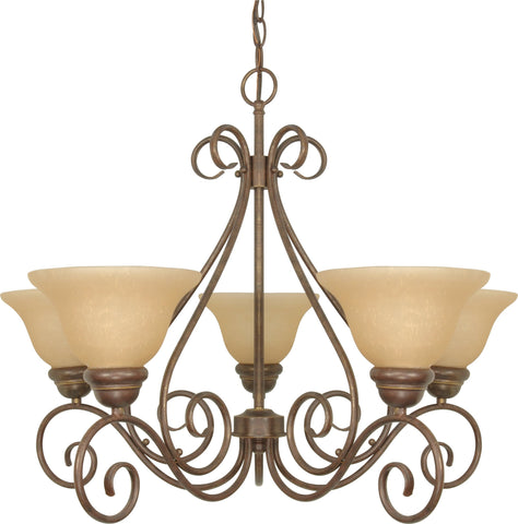 Nuvo 60-1023 - 5-Lights Chandelier in Sonoma Bronze with Champagne Glass