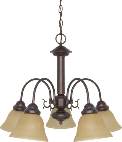 Nuvo 60-1251 - 5-Lights Mahogany Bronze Chandelier with Champagne Linen Glass