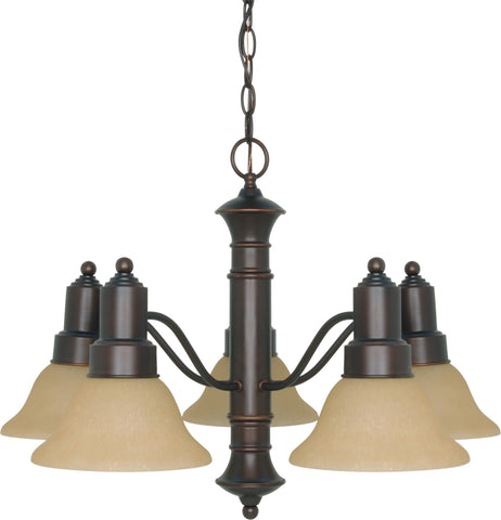 Nuvo 60-1253 - 5-Lights Mahogany Bronze Chandelier with Champagne Linen Glass