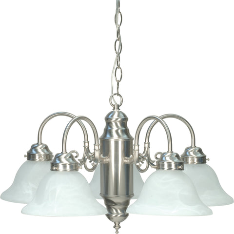 Nuvo 60-1290 - 5-Lights Brushed Nickel Chandelier with Alabaster Glass Shades