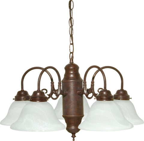 Nuvo 60-1291 - 5-Lights Old Bronze Chandelier with Alabaster Glass Shades