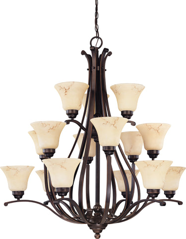Nuvo 60-1404 - 15-Lightss 3-Tier Chandelier in Copper Espresso Finish