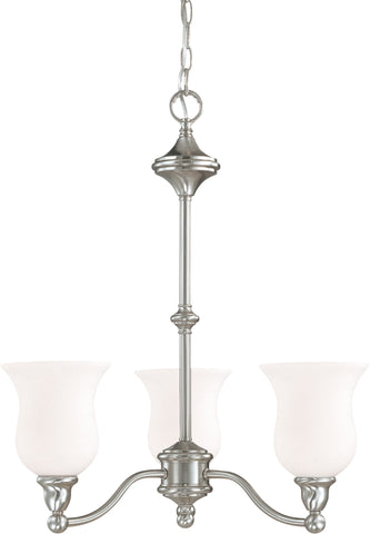 Nuvo 60-1801 - 3-Light Chandelier in Brush Nickel Finish and White Satin Glass