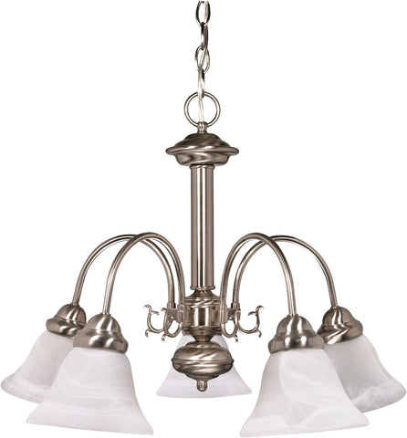 Nuvo 60-181 - Brushed Nickel Chandelier with Alabaster Glass Bell Shades