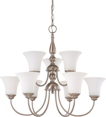 Nuvo 60-1823 - 2-Tier Chandelier in Brushed Nickel Finish with White Satin Glass