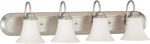 Nuvo 60-1835 - 4-Lights Vanity in Brushed Nickel Finish with White Satin Glass