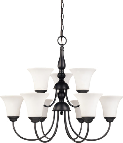 Nuvo 60-1843 - 2-Tier Chandelier in Dark Chocolate Bronze with White Satin Glass
