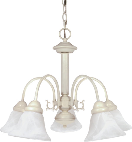 Nuvo 60-187 - Textured White Chandelier with Alabaster Glass Bell Shades