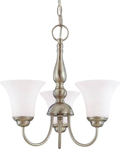 Nuvo 60-1901 - 3-Lights Brushed Nickel Chandelier with White Satin Glass