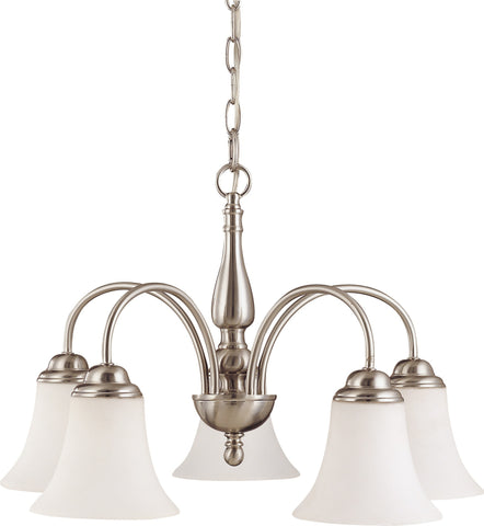 Nuvo 60-1902 - 5-Lights Brushed Nickel Chandelier with White Satin Glass