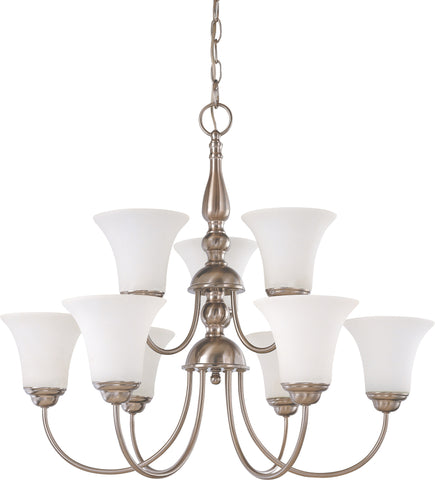 Nuvo 60-1903 - 9-Lights 2-Tier Brushed Nickel Chandelier with White Satin Glass