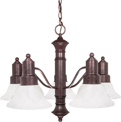 Nuvo 60-191 - 5-Lights Old Bronze Chandelier with Alabaster Glass Bell Shades