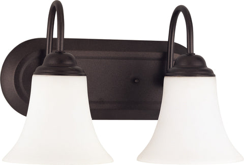 Nuvo 60-1933 - Vanity Fixture in Dark Chocolate Bronze and White Satin Glass