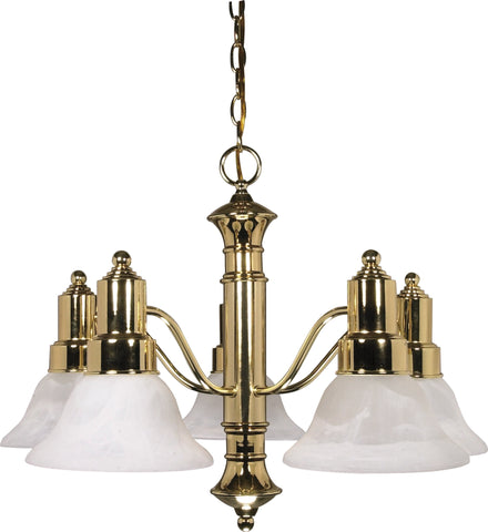 Nuvo 60-193 - Polished Brass Chandelier with Alabaster Glass Bell Shades
