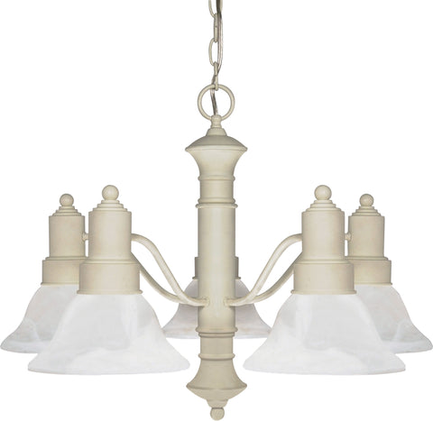 Nuvo 60-195 - Textured White Chandelier with Alabaster Glass Bell Shades