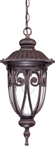 Nuvo 60-2068 - Outdoor Hanging Lantern in Burlwood Finish and Clear Seeded Glass