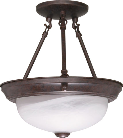 "Nuvo 60-208 - 11"" Semi Flush Mount Ceiling Light Fixture in Old Bronze Finish"
