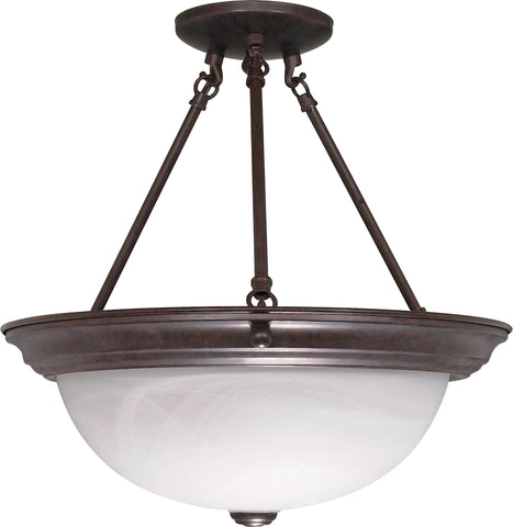 "Nuvo 60-210 - 15"" Semi Flush Mount Ceiling Light Fixture in Old Bronze Finish"