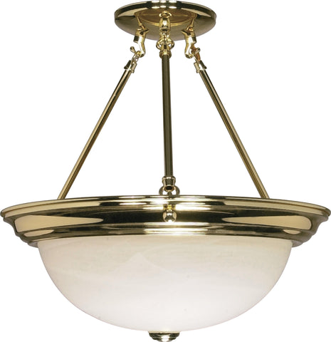 "Nuvo 60-218 - 15"" Semi Flush Mount Lighting Fixture in Polished Brass Finish"