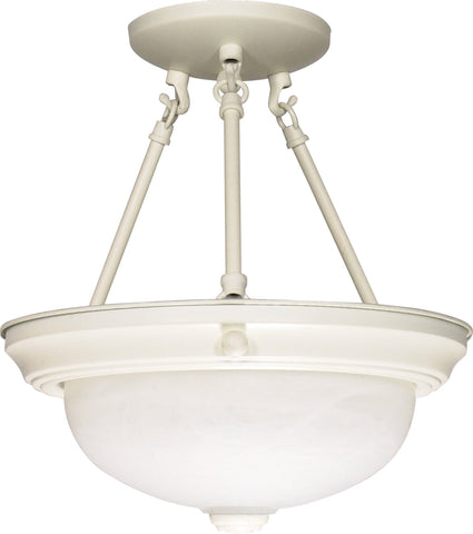 "Nuvo 60-225 - 13"" Semi Flush Mount Lighting Fixture in Textured White Finish"