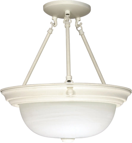 "Nuvo 60-226 - 15"" Semi Flush Mount Lighting Fixture in Textured White Finish"