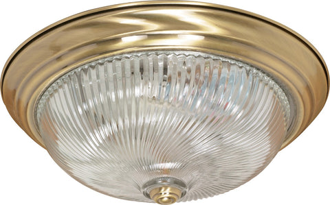 "Nuvo 60-231 - 15"" Flush Light Fixture in Antique Brass Finish"