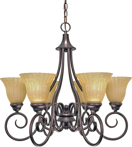 Nuvo 60-2403 - Copper Bronze Chandelier with Champagne Linen Washed Glass