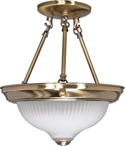 Nuvo 60-240 - Semi Flush Mount Ceiling Light Fixture in Antique Brass Finish