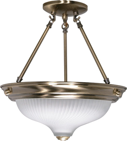 Nuvo 60-241 - Semi Flush Mount Ceiling Light Fixture in Antique Brass Finish