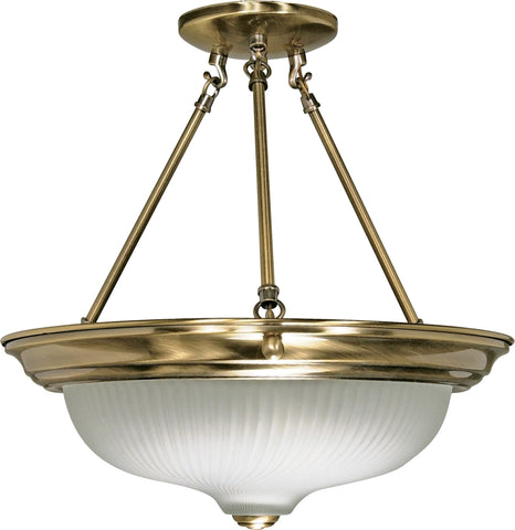 Nuvo 60-242 - Semi Flush Mount Ceiling Light Fixture in Antique Brass Finish