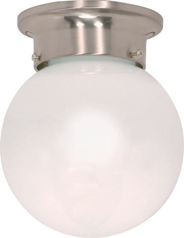 "Nuvo 60-245 - 6"" Ball Ceiling Light in Brushed Nickel Finish with White Glass"