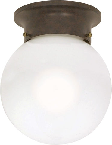 "Nuvo 60-247 - 6"" Ball Ceiling Light in Old Bronze Finish with White Glass"