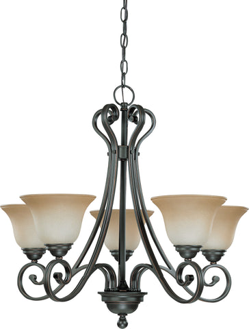Nuvo 60-2742 - Sudbury Bronze Chandelier (Arm Up) with Champagne Linen Glass