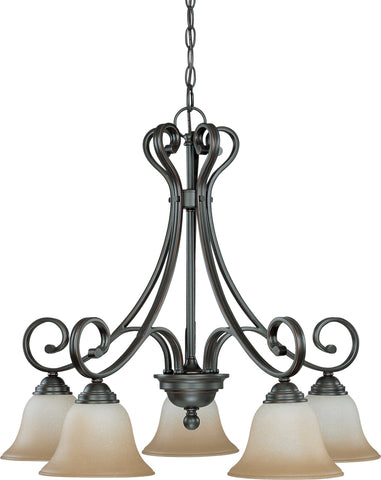 Nuvo 60-2743 - Sudbury Bronze Chandelier (Arm Down) with Champagne Linen Glass