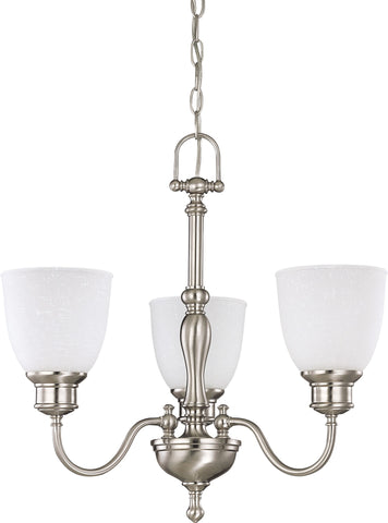 Nuvo 60-2773 - 3-Lights Brushed Nickel Chandelier with Frosted Linen Glass
