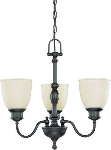 Nuvo 60-2774 - 3-Lights Aged Bronze Chandelier with Biscotti Glass
