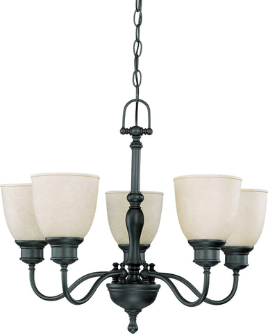 Nuvo 60-2776 - 5-Lights Aged Bronze Chandelier (Arms Up) with Biscotti Glass