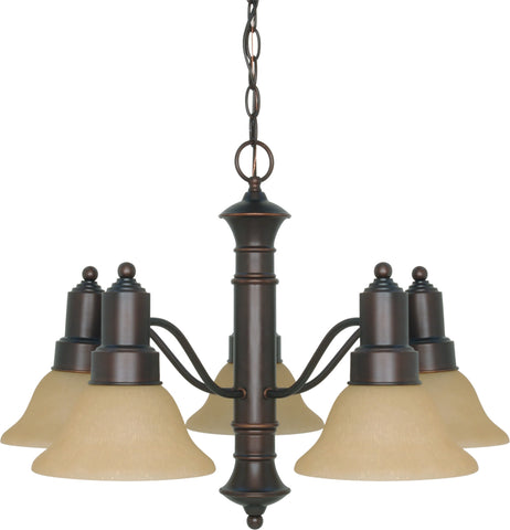 Nuvo 60-3103 - Chandelier in Mahogany Bronze Finish with Champagne Linen Glass