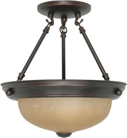 Nuvo 60-3108 - Small Semi Flush Light Fixture in Mahogany Bronze Finish