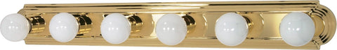 Nuvo 60-310 - 6-Lights Vanity Light Bar Racetrack Style in Polished Brass Finish