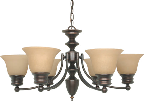 Nuvo 60-3129 - 6-Lights Mahogany Bronze Chandelier with Champagne Linen Glass