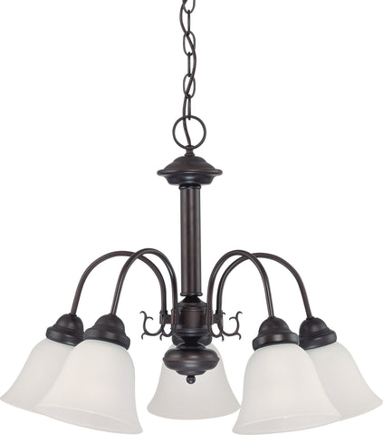Nuvo 60-3141 - 5-Lights Mahogany Bronze Chandelier with Frosted White Glass