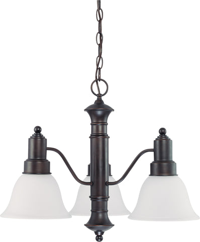 Nuvo 60-3144 - 3-Lights Mahogany Bronze Chandelier with Frosted White Glass