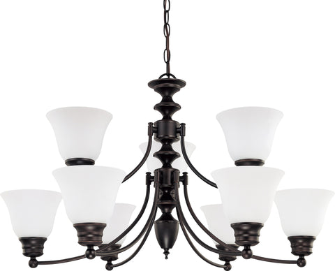 Nuvo 60-3171 - 9-Lights Mahogany Bronze Chandelier with Frosted White Glass