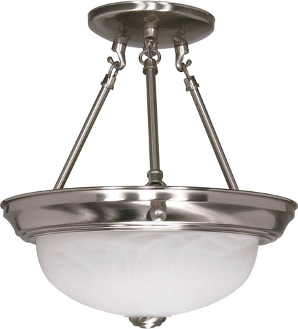 Nuvo 60-3184 - Small Semi Flush Light Fixture in Brushed Nickel Finish