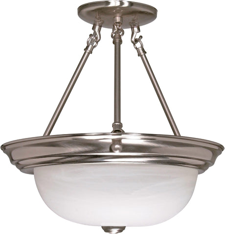 Nuvo 60-3186 - Large Semi Flush Light Fixture in Brushed Nickel Finish