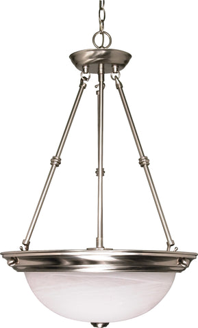 Nuvo 60-3187 - Small Pendant Light in Brushed Nickel Finish with Alabaster Glass