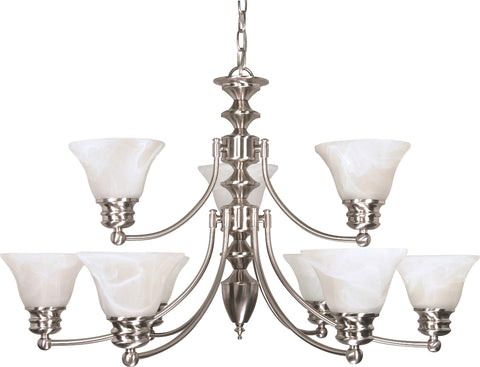 Nuvo 60-3196 - 2-Tier Chandelier in Brushed Nickel Finish with Alabaster Glass